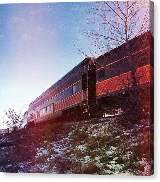 Trainspotting Canvas Print - #trains #middleton #wisconsin #winter by Tim Kilkenny