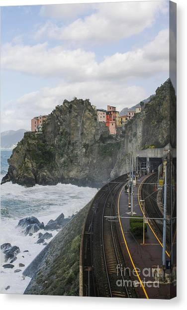 Trainstation In Manarola Italy Canvas Print