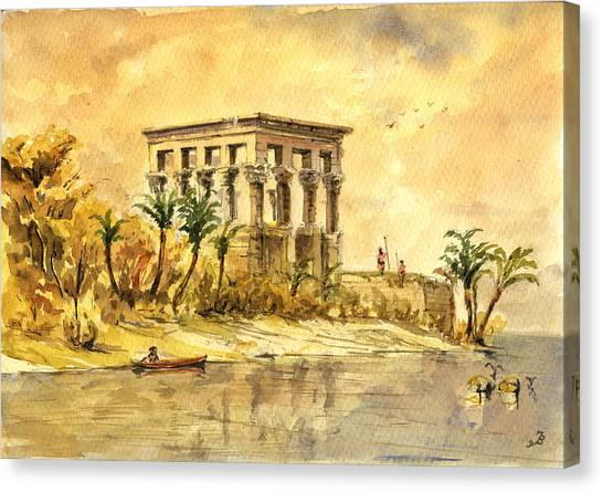 Temple Canvas Print - Trajan Kiosk Temple Aswan Egypt by Juan  Bosco