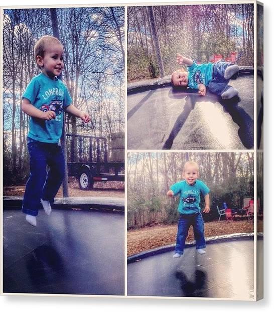 Trampoline Canvas Print - #trampoline #fun #love #family by Lori Lynn Gager