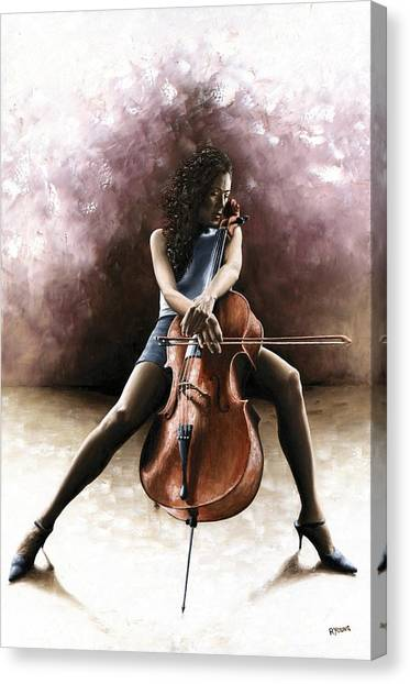 Cellos Canvas Print - Tranquil Cellist by Richard Young