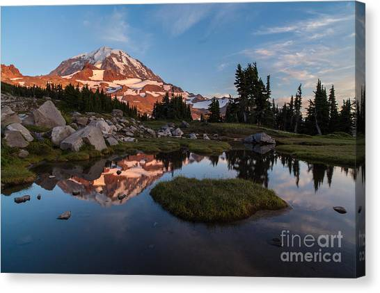 Mount Rainier Canvas Print - Tranquil Mountain Pool by Mike Reid