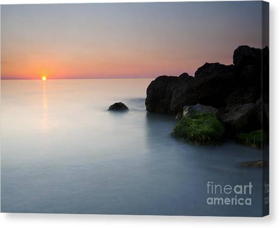 Beach Sunsets Canvas Print - Tranquil Sunset by Mike  Dawson