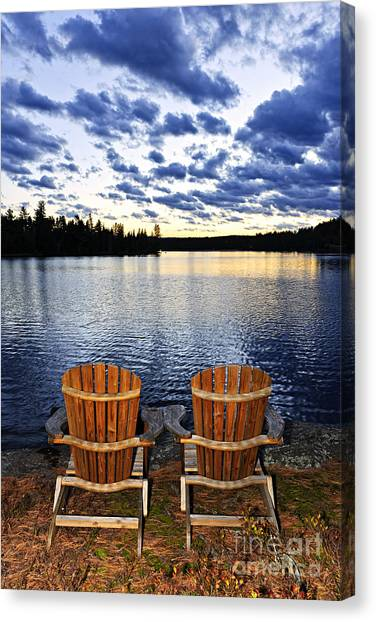 Adirondack Chair Canvas Print - Tranquility At Sunset by Elena Elisseeva