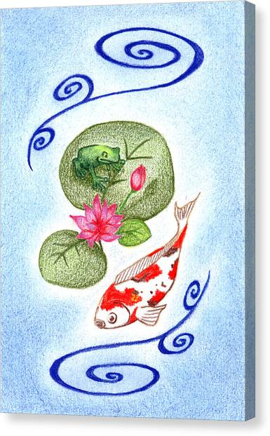 Koi Pond Canvas Print - Tranquility by Keiko Katsuta