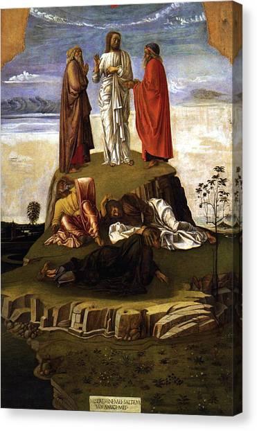 Early Christian Art Canvas Print - Transfiguration Of Christ On Mount Tabor 1455 Giovanni Bellini by Karon Melillo DeVega