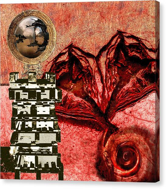 Canvas Print - Transfusion Into A Wooden Heart by Maria Jesus Hernandez