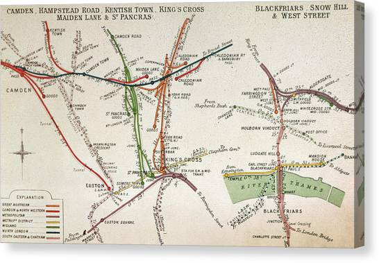 Old Canvas Print - Transport Map Of London by English School