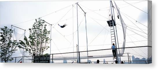 Chain Link Fence Canvas Print - Trapeze School New York, Hudson River by Panoramic Images