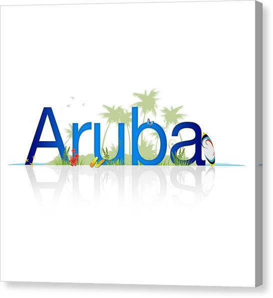 Tropical Beach Canvas Print - Travel Aruba by Aged Pixel