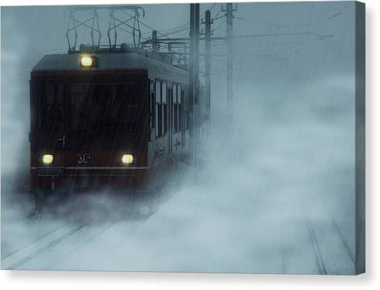 Traveling In The Snow... Canvas Print