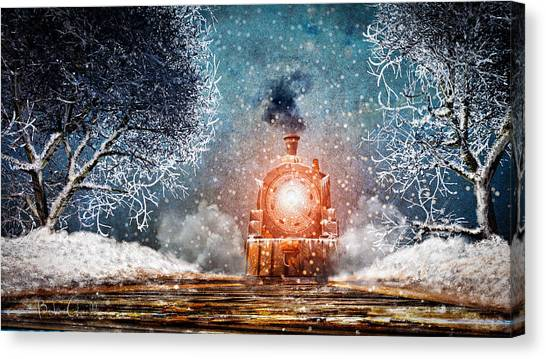 Winter Canvas Print - Traveling On Winters Night by Bob Orsillo
