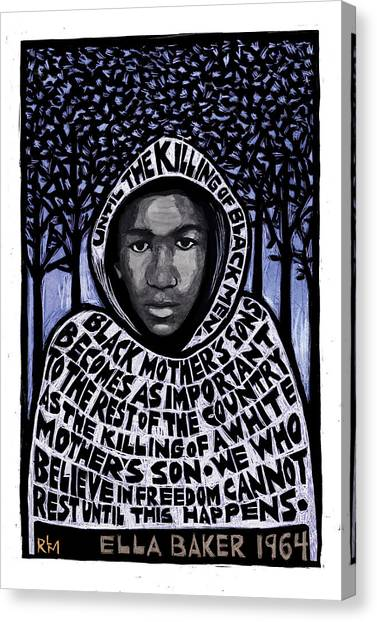 Racism Canvas Print - Trayvon Martin by Ricardo Levins Morales