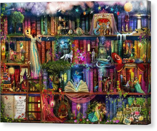 Fairy Canvas Print - Fairytale Treasure Hunt Book Shelf by Aimee Stewart