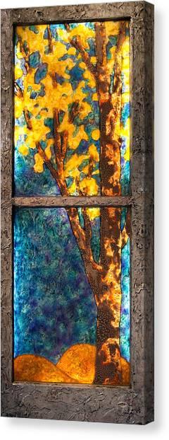Tree Inside A Window Canvas Print