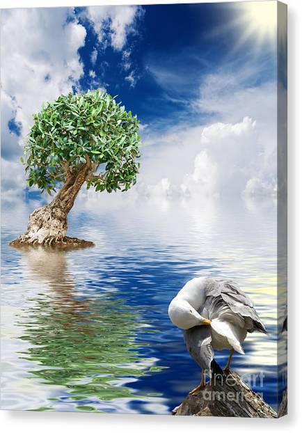 Tree Seagull And Sea Canvas Print