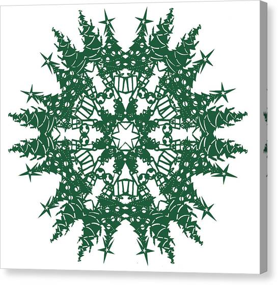Papercut Canvas Print - Tree Snowflake by Eric Fronapfel