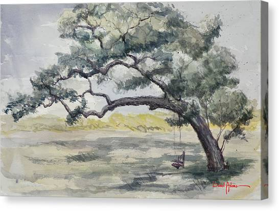 Da187 Tree Swing Painting By Daniel Adams Canvas Print