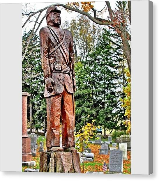 Soldiers Canvas Print - Tree Trunk Sculpture Batavia Ny by Cynthia Post