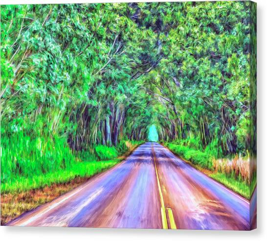 Mauna Loa Canvas Print - Tree Tunnel Kauai by Dominic Piperata