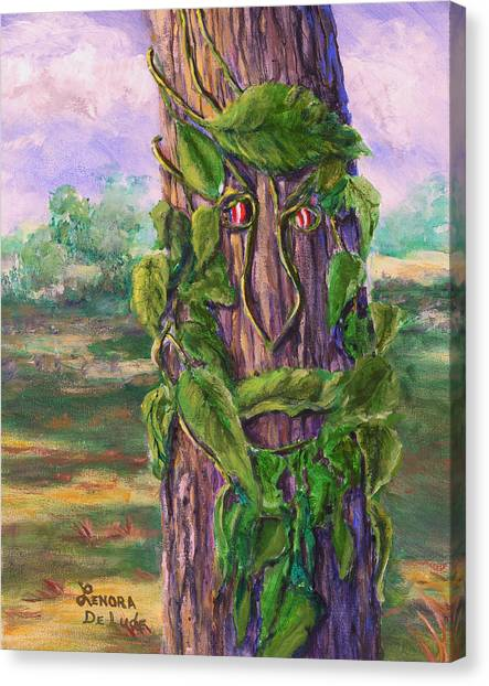 Tree With A Leaf Face Landscape Art Canvas Print