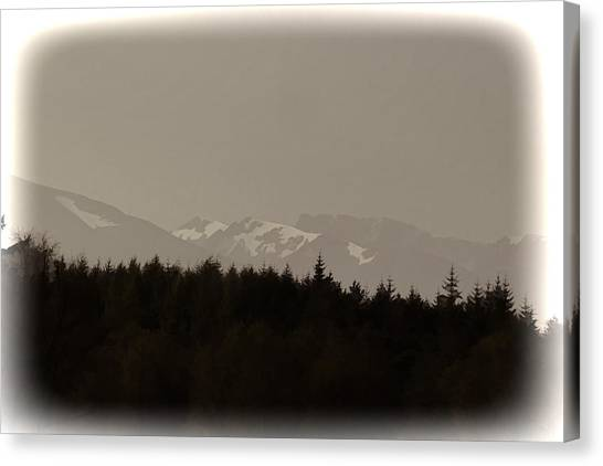 Treeline With Ice Capped Mountains In The Scottish Highlands Canvas Print