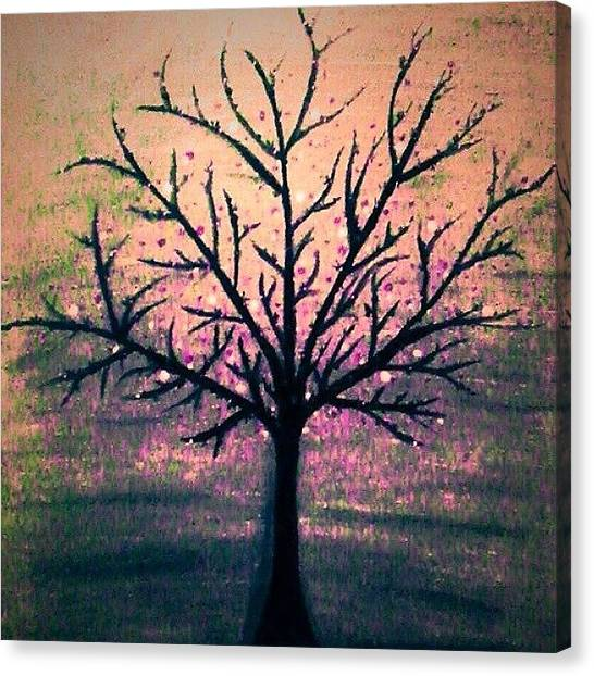 Floss Canvas Print - Tree/pink  #paint #painting by Candy Floss Happy