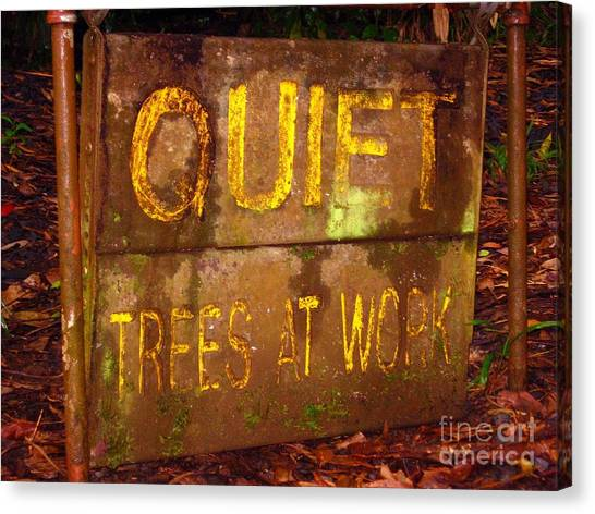 Trees At Work Canvas Print by Christine Stack