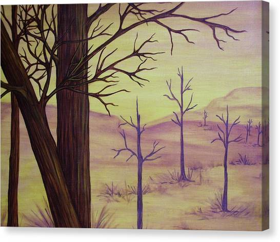 Trees In Gold Landscape Canvas Print by Jan Wendt