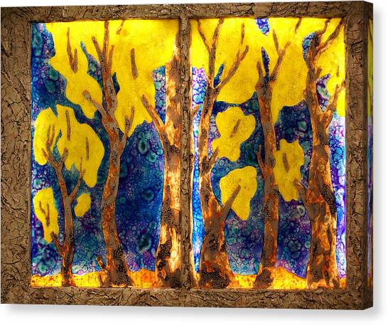Trees Inside A Window Canvas Print