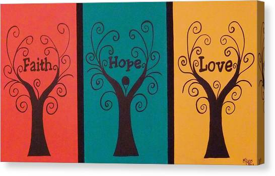 Trees Of Faith Hope Love Triptic Canvas Print by Cindy Micklos