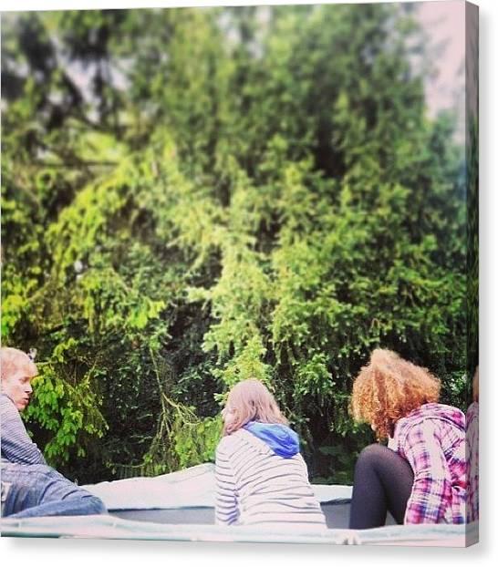 Trampoline Canvas Print - #trees #trampoline #rhi  #suffolk by Caitlin OShaughnessy
