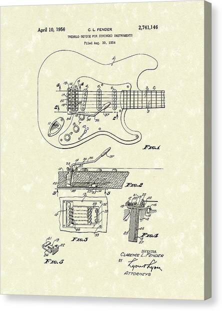 Stringed Instruments Canvas Print - Tremolo Device 1956 Patent Art by Prior Art Design