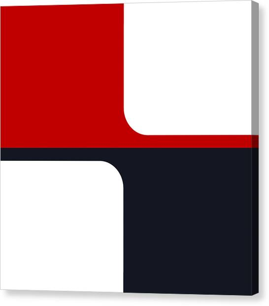 Trendy White Red And Navy Graphic Color Blocks Canvas Print by Tracie Kaska