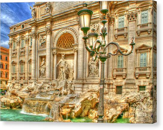 Trevi Fountain In Rome Canvas Print