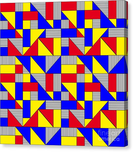 De Stijl Canvas Print - Triangles And Squares Geometrical by Bard Sandemose