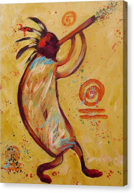 Kokopelli Canvas Print - Tribal Ethnic My Red Kokopelli by Carol Suzanne Niebuhr