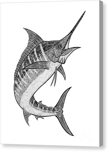 Tropical Beach Canvas Print - Tribal Marlin IIi by Carol Lynne