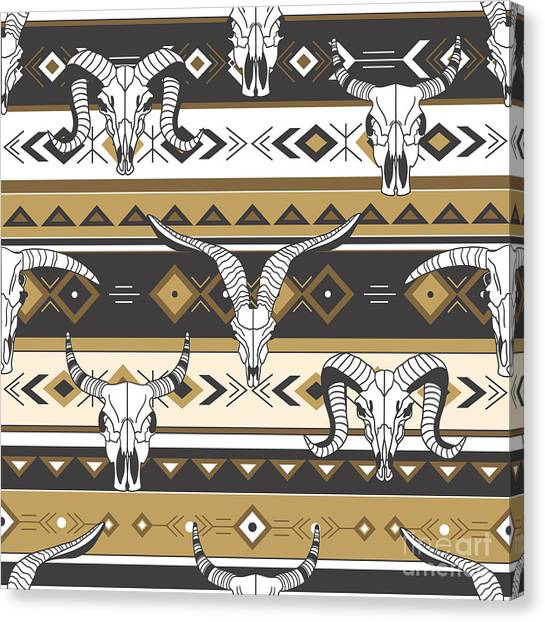 Bone Canvas Print - Tribal Seamless Pattern With Skulls Of by Talirina