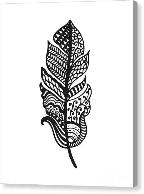 Tribal Vector Feather. Hand Drawn Canvas Print by Qilli