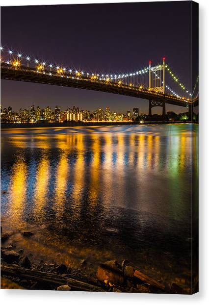 Triborough At Night Canvas Print by Chris Halford