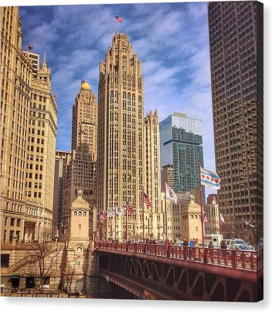 Sears Tower Canvas Print - Tribune Tower And Dusable Bridge In by Paul Velgos