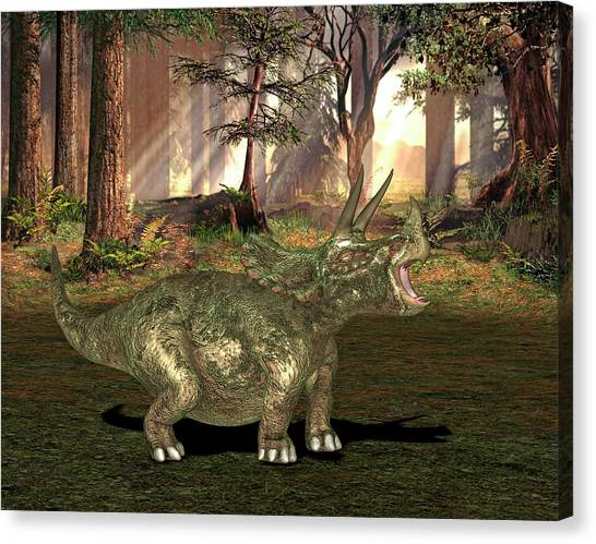 Triceratops Canvas Print - Triceratops Dinosaur by Friedrich Saurer