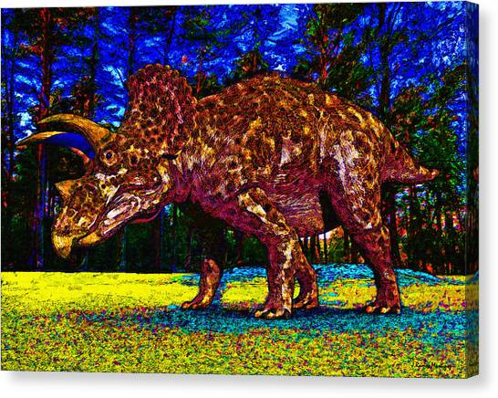 Triceratops Canvas Print - Triceratops Painting by Ramon Martinez