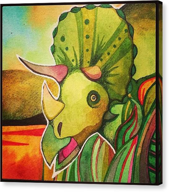 Triceratops Canvas Print - Triceratops Too Is Now On Etsy : Seller by Megan Smith