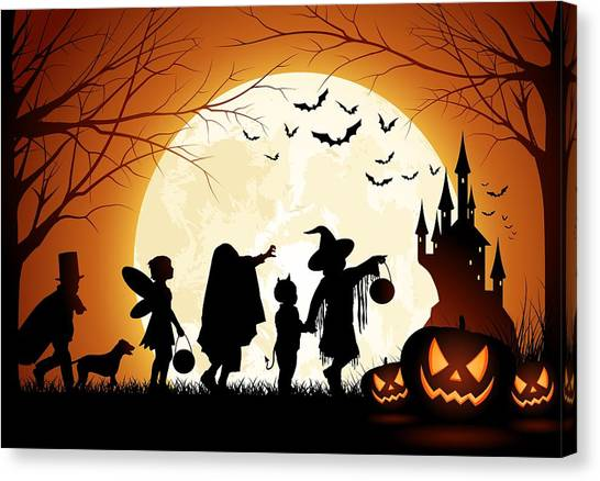 Moon Canvas Print - Trick Or Treat by Gianfranco Weiss
