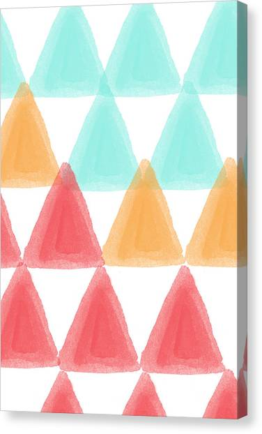 Designs Canvas Print - Trifold- Colorful Abstract Pattern Painting by Linda Woods