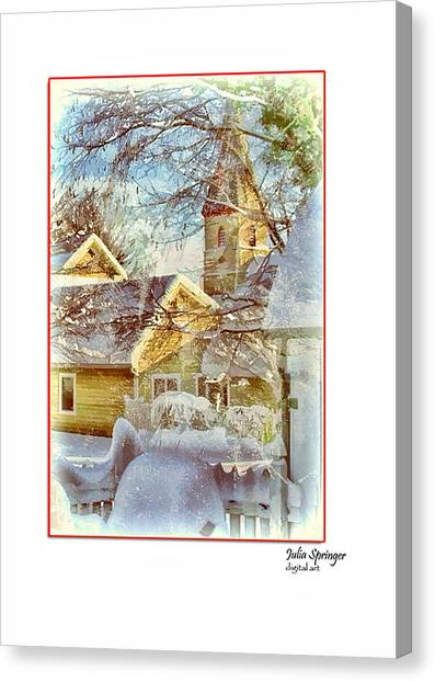 Trinity Episcopal Church In The Snow - Shepherdstown  Canvas Print