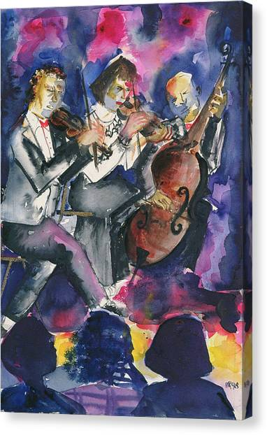 Cellos Canvas Print - Trio, 1998 Wc On Paper by Hilary Rosen