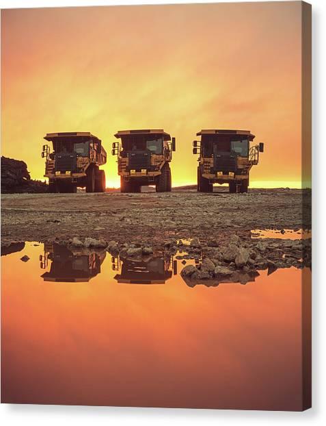 Dump Trucks Canvas Print - Trio Of Trucks by Shaunl